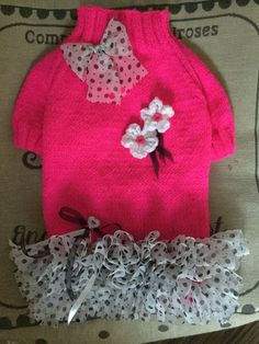 Medium hand knit hot pink with dotty frill dog sweater jumper coat (raglan sleeved) by DogzPawz on Etsy