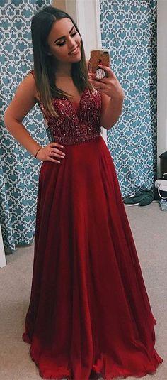 elegant burgundy elastic satin prom dress with beading, fashion a-line sleeveless evening dress with beading #longpromdress