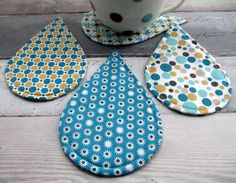 Fabric Coasters - Raindrop Coasters - Set of 4 Geometric Coasters