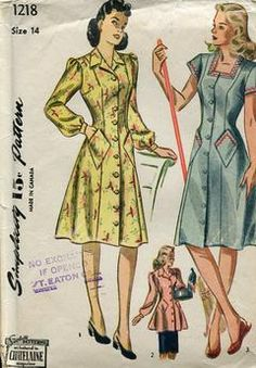 Sewing Patterns,Vintage,Out of Print,Retro,Vogue Simplicity McCall's,Over 7000 - Simplicity 1218 Retro 1940's Rosy Riveter Shirtdress Dress Uncut