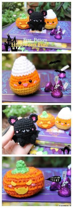 Amigurumi Food: Halloween is Coming soon...Kawaii Halloween!! Free Crochet pattern/ Bat-Bear/ Candy Corn/ Pumpkin