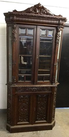 Antique Victorian China Cabinet | RARE ANTIQUE VICTORIAN CARVED ...