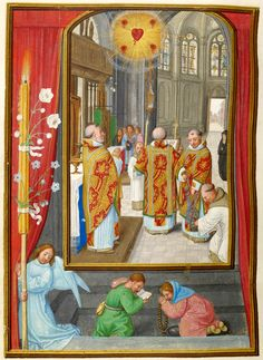 """The Mass of the Five Wounds, from the """"Da Costa Hours;"""" Belgium, Ghent, ca. Illuminated for Alvaro da Costa by Simon Bening; The Morgan Library & Museum, New York; Photography: Graham S. Catholic Quotes, Catholic Art, Catholic Saints, Religious Art, Rosary Prayer, Praying The Rosary, Prayer Book, Medieval Manuscript, Medieval Art"""