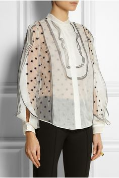 Chloé | Embroidered organza blouse | NET-A-PORTER.COM