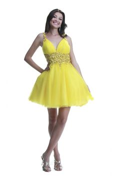 Ball Backless Short Yellow Tulle Cocktail Prom Dress With Straps f44a11fdd250