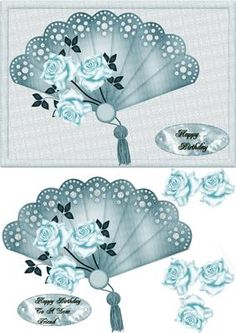 blue fan on Craftsuprint designed by Cynthia Berridge - quick card front fan to decoupage - Now available for download!