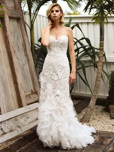 8ebce7a14f28 SKYLAR 1 lace motif mermaid wedding dress with ruffle train Madi Lane Luv  Bridal Melbourne Australia
