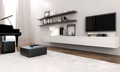 SLF36.121 | 3.6 metre floating entertainment unit in Alpine Vanilla Satin