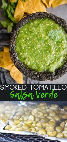Smoked Tomatillo Salsa Verde made with tomatillos smoked on the grill or smoker. This salsa comes together fast and easy in the blender. It is perfect over chicken, sausage, or just with chips. Healthy Grilling Recipes, Tailgating Recipes, Vegetarian Grilling, Barbecue Recipes, Barbecue Sauce, Grill Recipes, Canning Recipes, Vegetarian Food, Tomatillo Salsa Verde