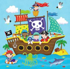Painting For Kids, Drawing For Kids, Art For Kids, Crafts For Kids, Pirate Birthday, Pirate Theme, Images Pirates, Pirate Ship Drawing, Orla Infantil