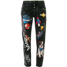 Dolce & Gabbana boyfriend planets printed jeans ($1,695) ❤ liked on Polyvore featuring jeans, tapered leg jeans, floral embroidered jeans, galaxy jeans, boyfriend fit jeans and 5 pocket jeans