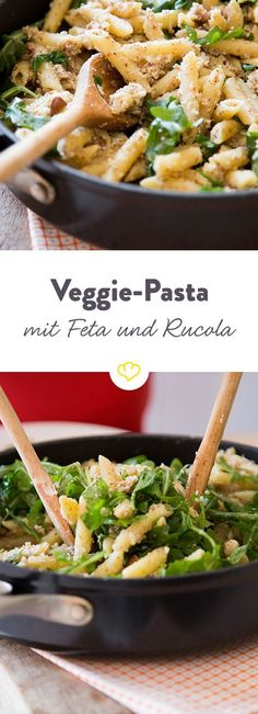 Fixed and meat-free: almond pasta with feta and arugula - . - Fixed and meat-free: almond pasta with feta and arugula The Effective Pictures We Offer You About g - Grilling Recipes, Veggie Recipes, Pasta Recipes, Vegetarian Recipes, Healthy Recipes, Recipe Pasta, Dinner Recipes, Healthy Snacks, Healthy Eating