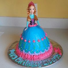 Anna of Arendelle from 'Disney's Frozen' Cake. I used the Wilton Wonder Mold cake pan for her dress and just stuck the naked Anna doll in the cake and frosted it to match her dress. Anna Frozen Cake, Frozen Doll Cake, Anna Cake, Disney Frozen Cake, Frozen Theme Cake, Disney Cakes, Frozen 3rd Birthday, Girl Birthday, Birthday Cakes
