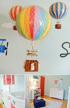 Up, Up & Away Twin Nursery, amazing balloon decorations