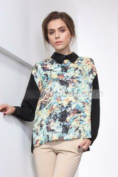Obsessed Slim Assorted Colors Long Sleeves Flowers Print Lapel Blouse : Tidebuy.com