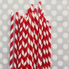 "STRIPED PAPER STRAWS: RED       	  1 	   $4.00  Sweet striped straws add perfect retro charm to baby showers, wedding receptions, candy buffets, birthday parties, and any special event!    Barber Pole Pixie Striped Paper Straws are made in USA from FDA approved paper and ink. Fully compostable.    You will receive one pack of 20 paper straws. Each straw measures approx. 8"" in length."