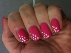 Shellac Hot Pop Pink with Cream Puff dots