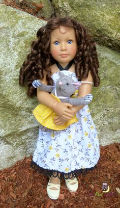 White and yellow flowered sundress by upowlnightcrafting. Simply Summer Sundress for Kidz N' Cats Dolls & The Cat. Find the pattern here http://www.pixiefaire.com/products/lacy-sundress-for-kidz-n-cats-dolls.  #pixiefaire #simplysummersundress