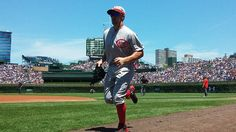 Another look at the vintage 1916 Reds uniform from today's game at Wrigley. Let's go Redlegs!