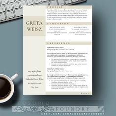 creative resume template cv template cover letter for ms word instant digital download