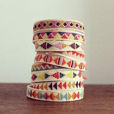 Embroidered linen bracelets by new house project