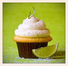 Margarita cupcake with fresh lime cake, tequila lime buttercream and topped with salt and candied lime zest. #cincodemayo #margarita