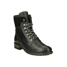 Women's Taos Footwear Ringer Combat Boot ($189) ❤ liked on Polyvore featuring shoes, boots, ankle booties, black, casual, heels, lace up heel booties, black leather boots, black heeled boots and black chunky heel booties
