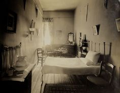 A dormitory room at the all-girls High School - Mt.de Sales Academy, in Catonsville, Maryland. Back when female student could live on the campus.