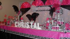 sweet 16 birthday party ideas girls for at home | Hot pink and Zebra / Sweet Sixteen Birthday Party / Dessert Table:
