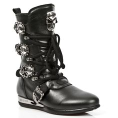 Black Leather Hybrid Boots w Skull Buckles *May take up to 45 - 50 Days to Receive*-Quality Black leather hybrid boots from New Rock Shoes. Lacing up the front, Easy Zip on inner leg, 3 Skull buckles to adjust for comfort and fit. Metal on the heels. Combat Boots, Black Leather, Skull, Lace Up, Legs, Zip, Rock, Metal, Sneakers