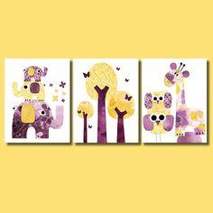 Three Elephants purple and yellow Nursery by 3000yardsofthread, $42.00