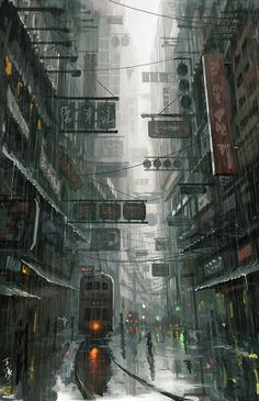 The aesthetics of a typical cyberpunk city, displayed in Ghost in the Shell. It is dark and gloomy with pops of neon lights. #iml295_week7