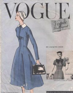 Vogue 1325 by Jacques Heim | 1956 Vogue Paris Original pattern for a dress