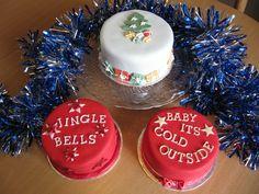 mini christmas cakes, christmas songs cakes