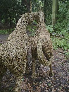 Emma Stothard - Willow and Wire Sculpture Organic Sculpture, Outdoor Sculpture, Outdoor Art, Willow Weaving, Wire Sculptures, Year Of The Horse, Bare Beauty, Candle In The Wind, Horse Sculpture