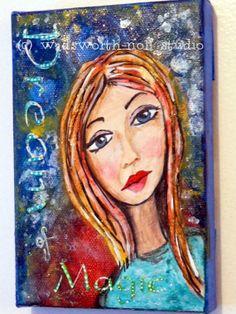 Whimsical Art Girl Mixed Media Original  Art by MagpiesandMimsy, $27.00