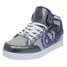 Baby Phat Women's Jackie Sneaker (6.5 M US, Gray/Pewter/Purple) Full Lace-Up Closure. Padded Collar & Tongue. Medallion on Laces. Comfort Insole.  #Baby_Phat #Shoes