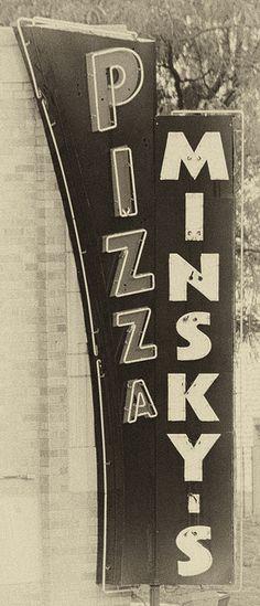 Minsky's Pizza Sign - best in Kansas City - River Market or Main) #history