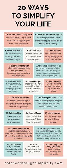 20 ways to simplify your life - Balance Through Simplicity . - 20 ways to simplify your life – Balance Through Simplicity - Vie Motivation, Health Motivation, Healthy Lifestyle Motivation, Healthy Lifestyle Changes, Vie Simple, Self Care Activities, Good Habits, 7 Habits, Self Improvement Tips