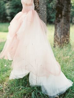Fabulous pink dress: http://www.stylemepretty.com/2015/03/16/woodland-chic-outdoor-idaho-wedding/ | Photography: Rebecca Hollis - http://rebeccahollis.com/