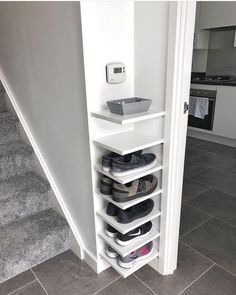 Shoe Storage Our house has a really small entryway meaning theres not much room for things like shoe. ideas small stairs Shoe Storage Our house has a really small entryway meaning theres not much room for things like shoe… Diy Shoe Rack, Shoe Racks, Small Shoe Rack, Diy Shoe Storage, Front Door Shoe Storage, Extra Storage, Garage Shelving, Coat And Shoe Storage, Shoe Storage Kitchen