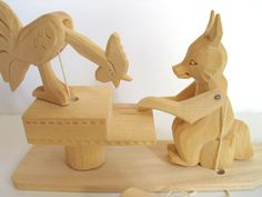 Vintage Handcarved Russian Folk Art Paddle Toy Fox and Chicken