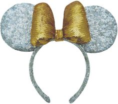 Ear Inspiration - Sparkly, silver and gold sequined Minnie Mouse Ears from ASOS collection.