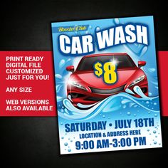 CAR WASH car wash flyer fundraiser club event by BowWowCreative