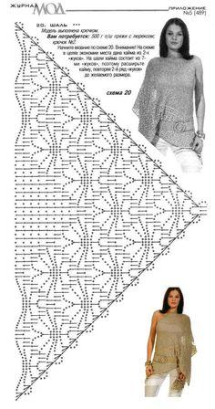 Diagram bewerkt en voorzien van rand (Annie - Her Crochet Crochet Bolero Pattern, Crochet Shawl Diagram, Crochet Necklace Pattern, Shawl Patterns, Crochet Stitches Patterns, Cotton Crochet, Crochet Lace, Crochet Capas, Robes Tutu