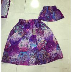 Refashion batik dress into couple skirt mom n baby