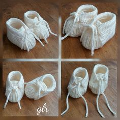 No photo description available. Baby Knitting Patterns, Knitting Kits, Baby Patterns, Crochet Baby Booties, Crochet Slippers, Baby Kimono, Diy Crafts Crochet, Baby Shoes Pattern, Knitted Booties