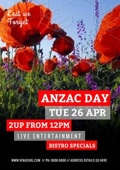 Anzac Day Template with Large Red Poppies Photograph - Easil Lest We Forget Anzac, Anzac Day, Australia Day, Social Media Graphics, Red Poppies, Diy Design, Celebrations, Photograph, Templates