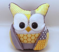 Plush Owl Pillow  patched owl minky  yellow and grey by aprilfoss, $34.00