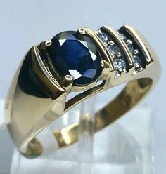 Gorgeous Handcrafted 14 Karat Yellow Gold 1.25 Carat Sapphire and Diamond Ring #Handmade #Cocktail